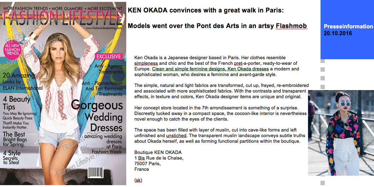 Parution magazine Fashion Lifestyle - Ken Okada